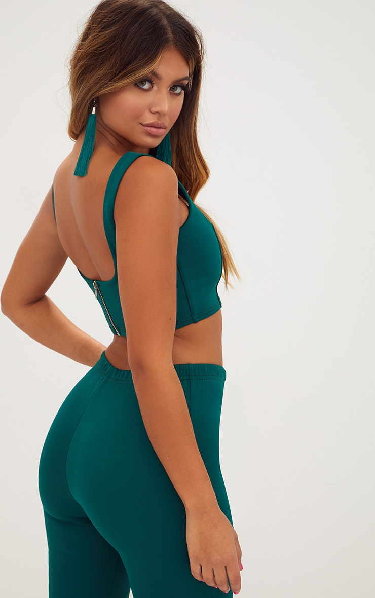 Forest Green Square Neck Zip Back Crop Top 2