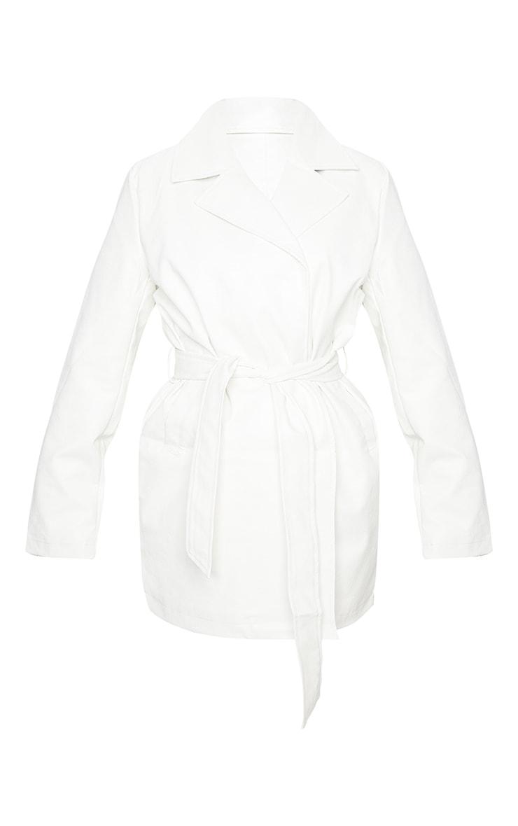 White Faux Leather Long Line Tie Waist Jacket 5