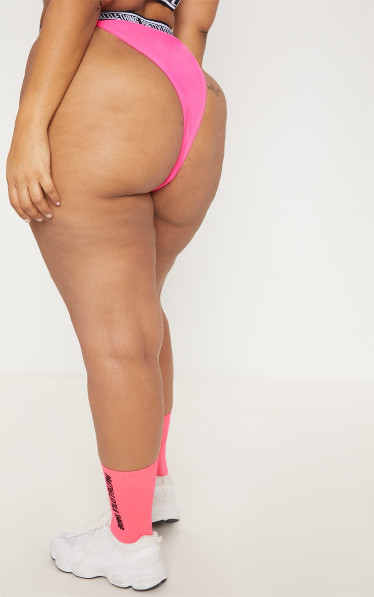 PRETTYLITTLETHING Plus Bright Pink High Leg Bikini 4