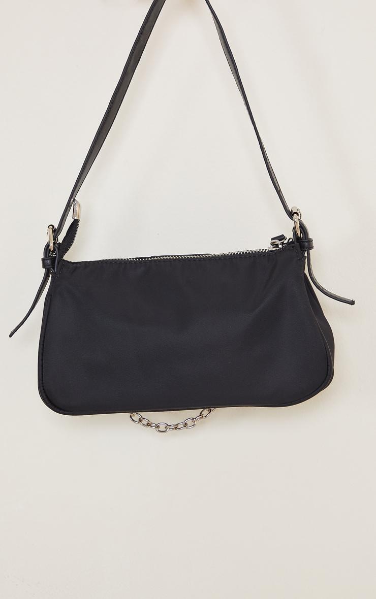 Black Nylon Silver Chain Shoulder Bag 3