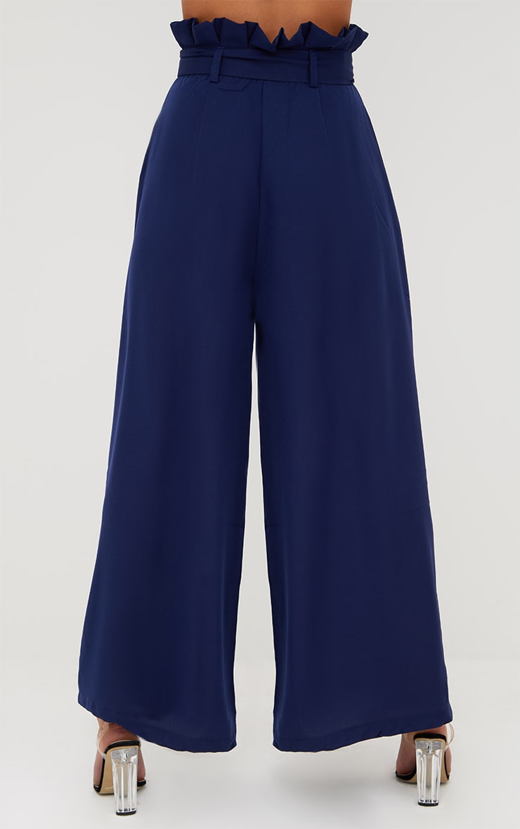 Navy Wide Leg Paperbag Trousers 4