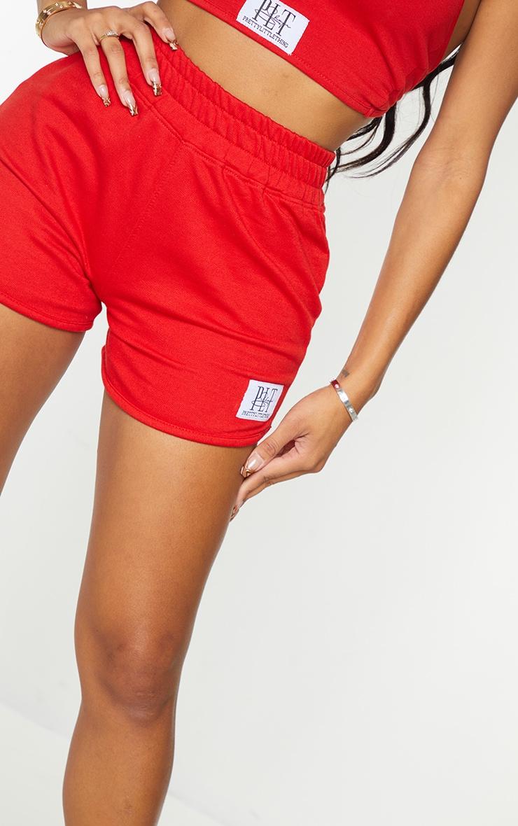 PRETTYLITTLETHING Shape Red Badge Sweat Shorts 5