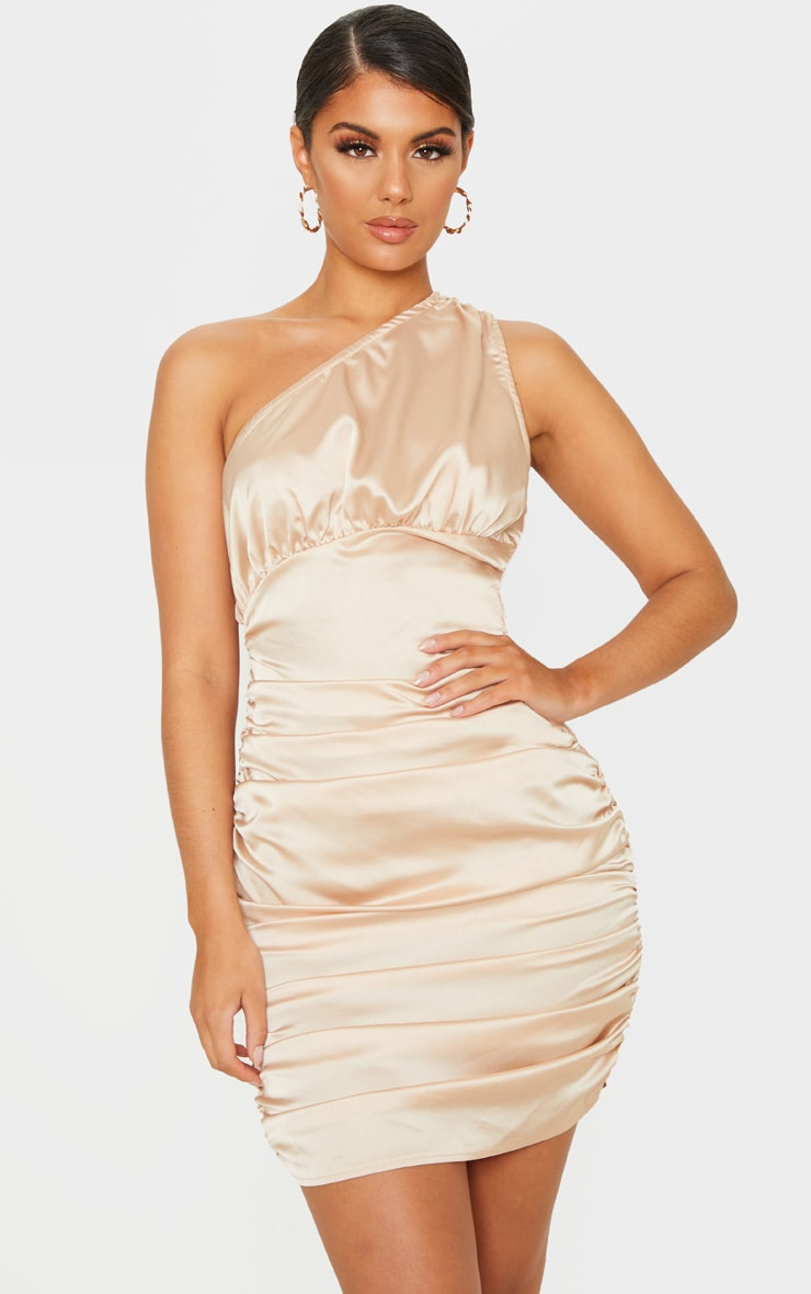 Champagne Satin One Shoulder Ruched Bodycon Dress 1