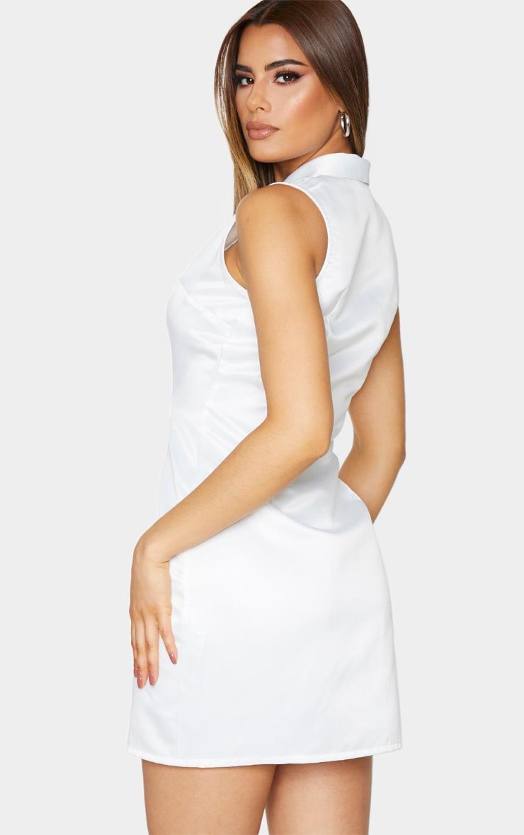 Tall Cream Sleeveless Plunge Blazer Dress 2