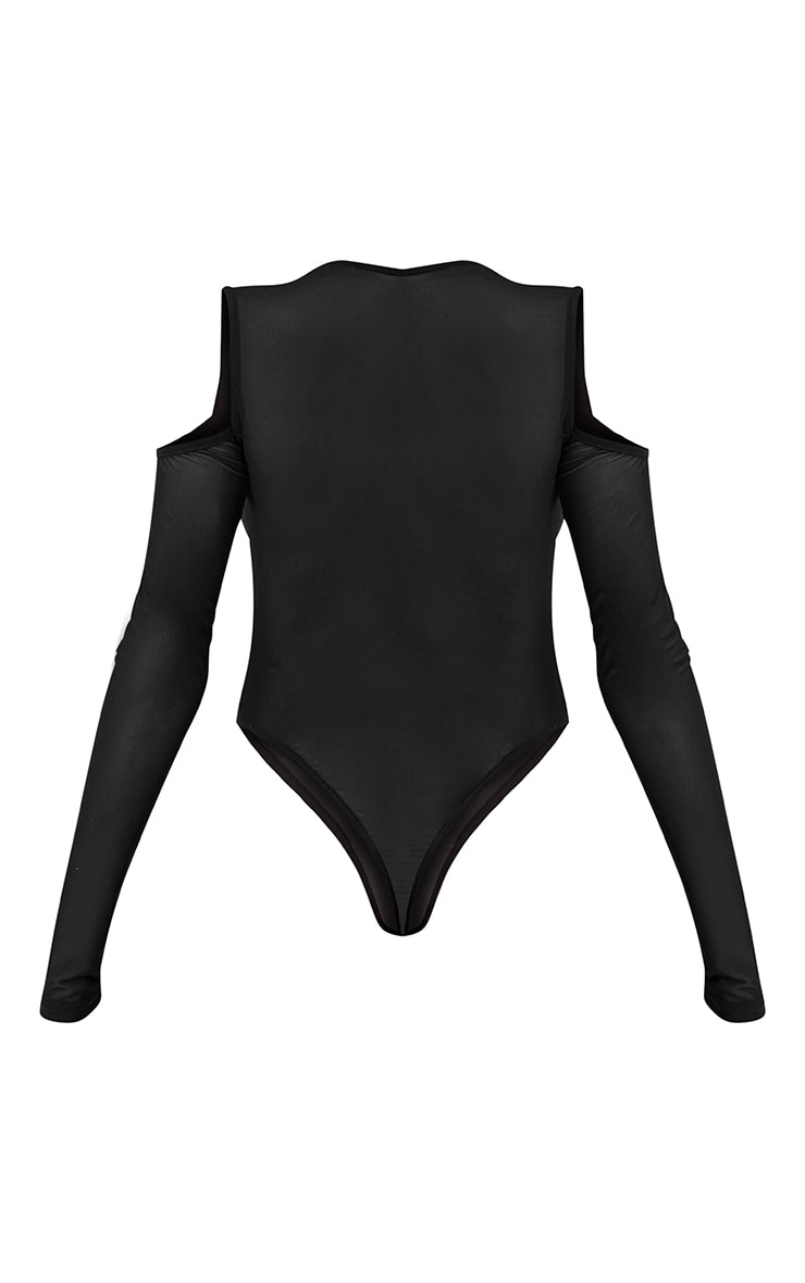 Joelle body-string en tulle noir épaules dénudées à fleurs brodées 4