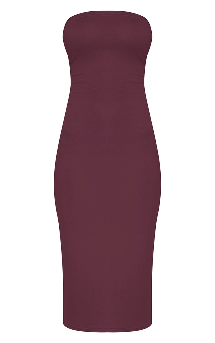 Basic Aubergine Jersey Bandeau Midi Dress 3