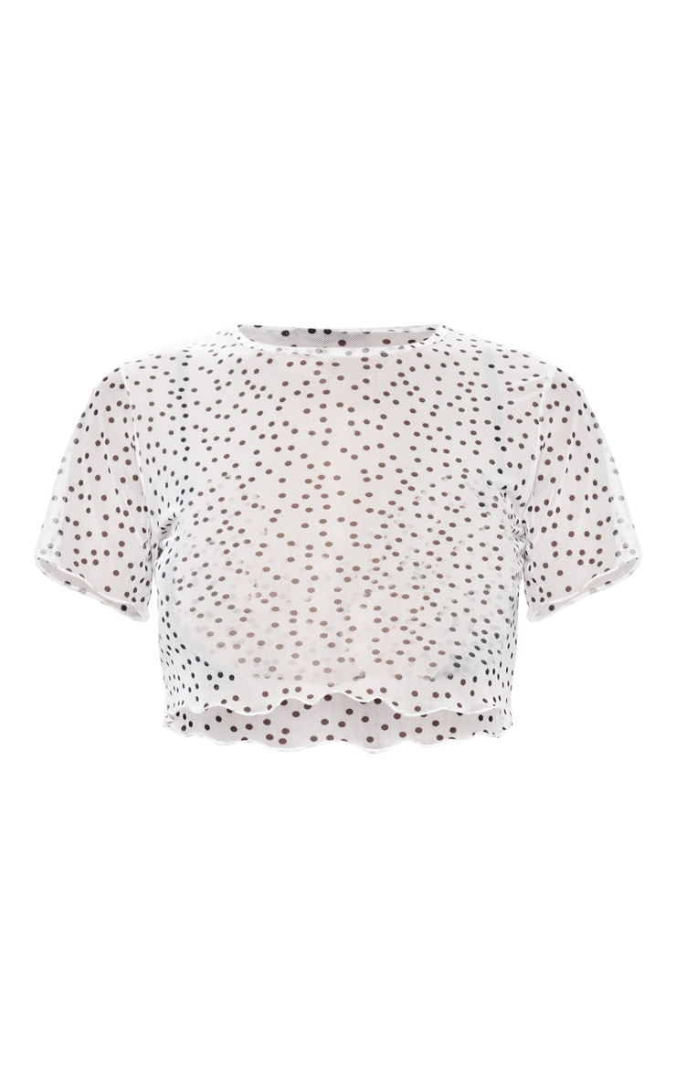 White Polkadot Hem Mesh Crop Top 3