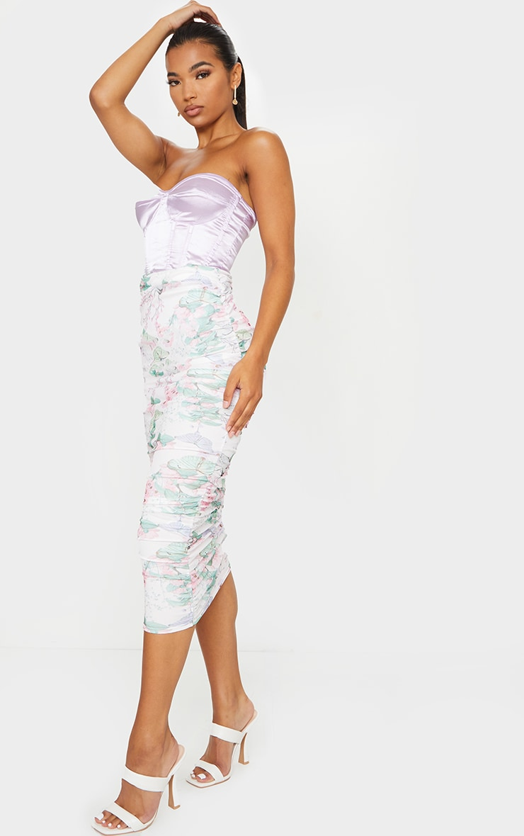 White Floral Mesh Ruched Midi Skirt 1