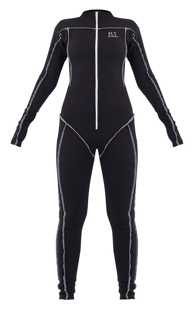 PRETTYLITTLETHING Black Seam Detail Zip Front Rib Jumpsuit 5