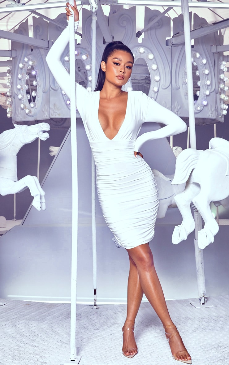 White Ruched Plunge Bodycon Dress 1