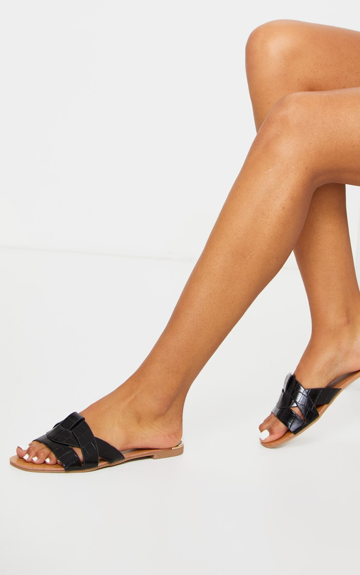 Black Croc PU Strap Over Flat Sandals 2
