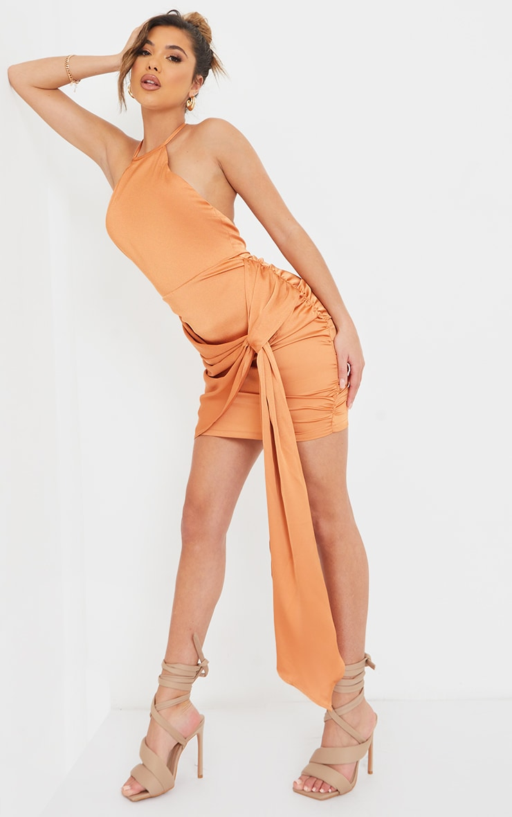 Rust Satin Halterneck Ruched Drape Detail Bodycon Dress 1