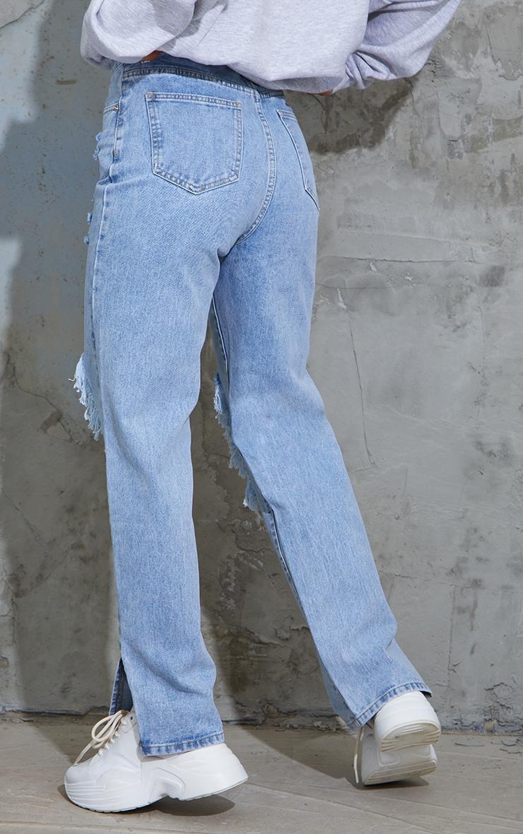 Light Blue Wash Ripped Open Knee Split Hem Jeans 3