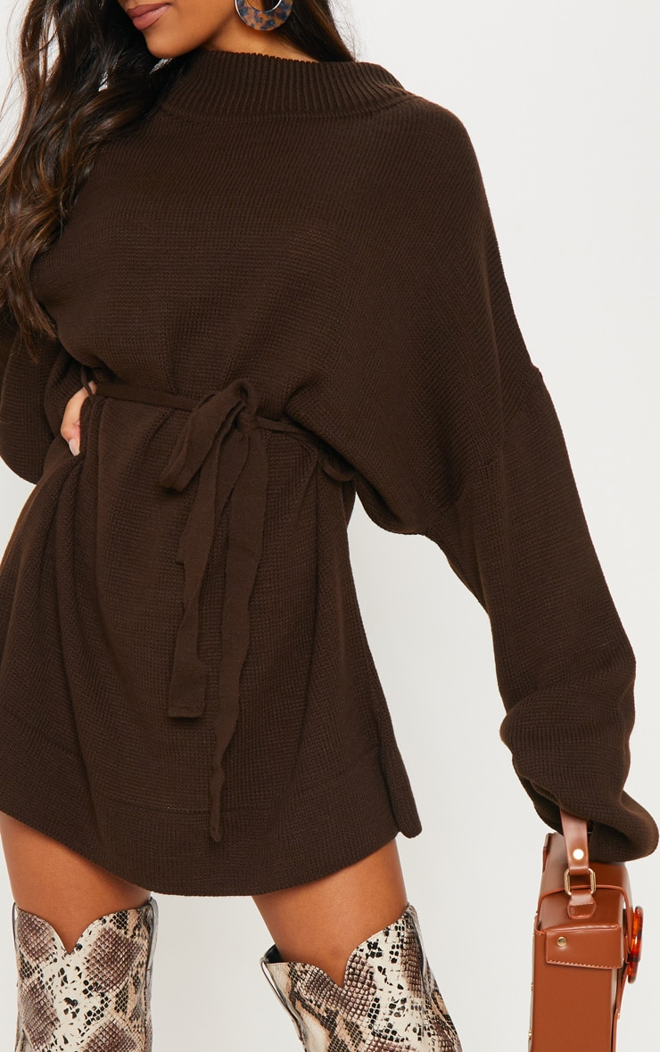 Brown Oversized Knitted Belted Dress  5