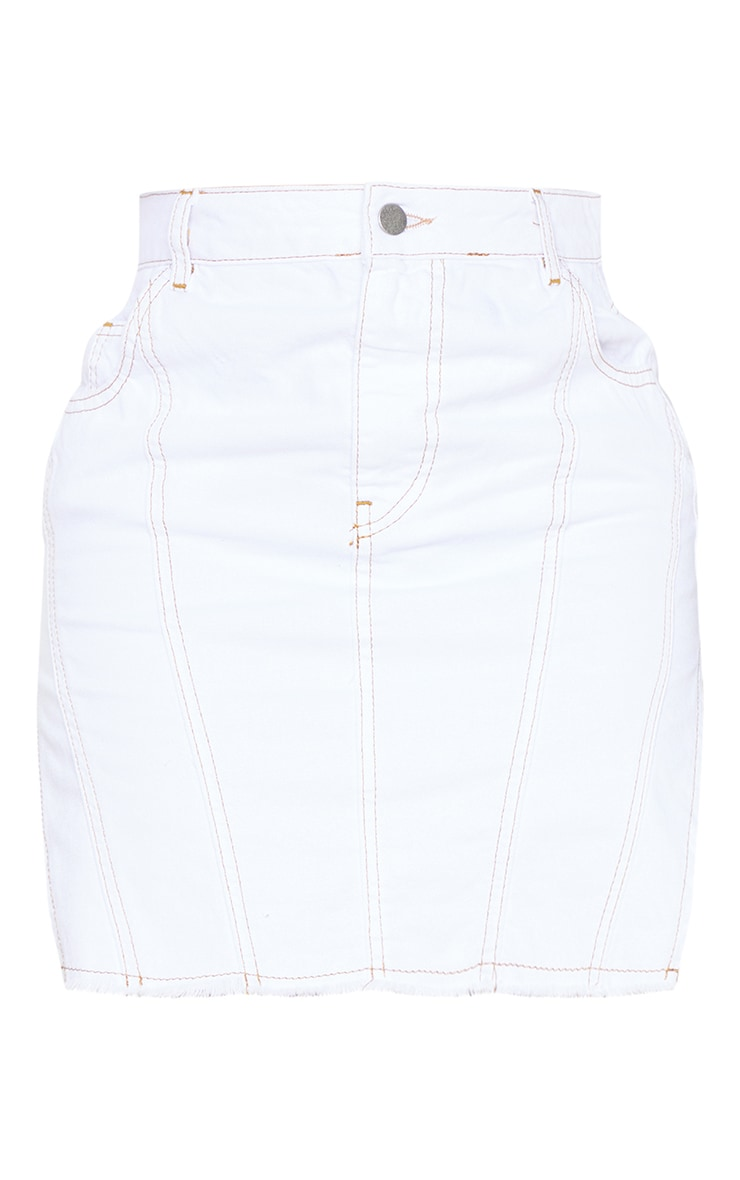 Shape White Frayed Curved Hem Denim Skirt 6