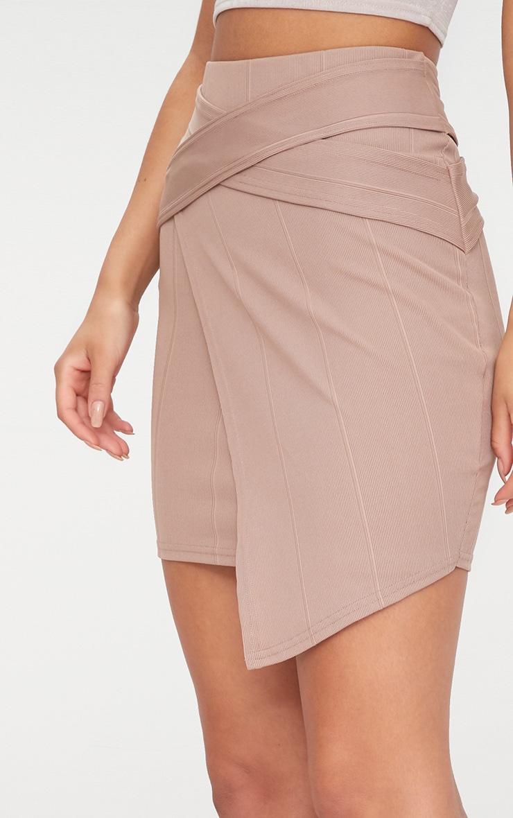 Taupe Bandage Strap Detail Mini Skirt 6