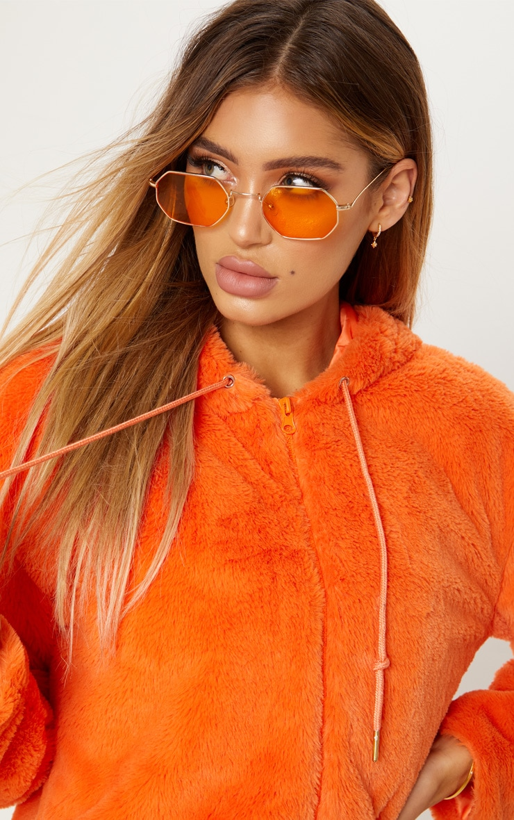 Orange Cropped Faux Fur Jacket With Hood 6