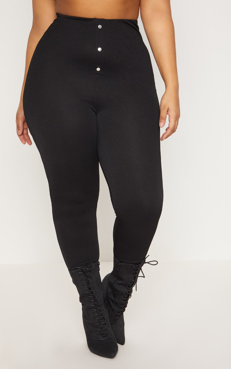 Plus Black High Waisted Popper Front Trousers 2