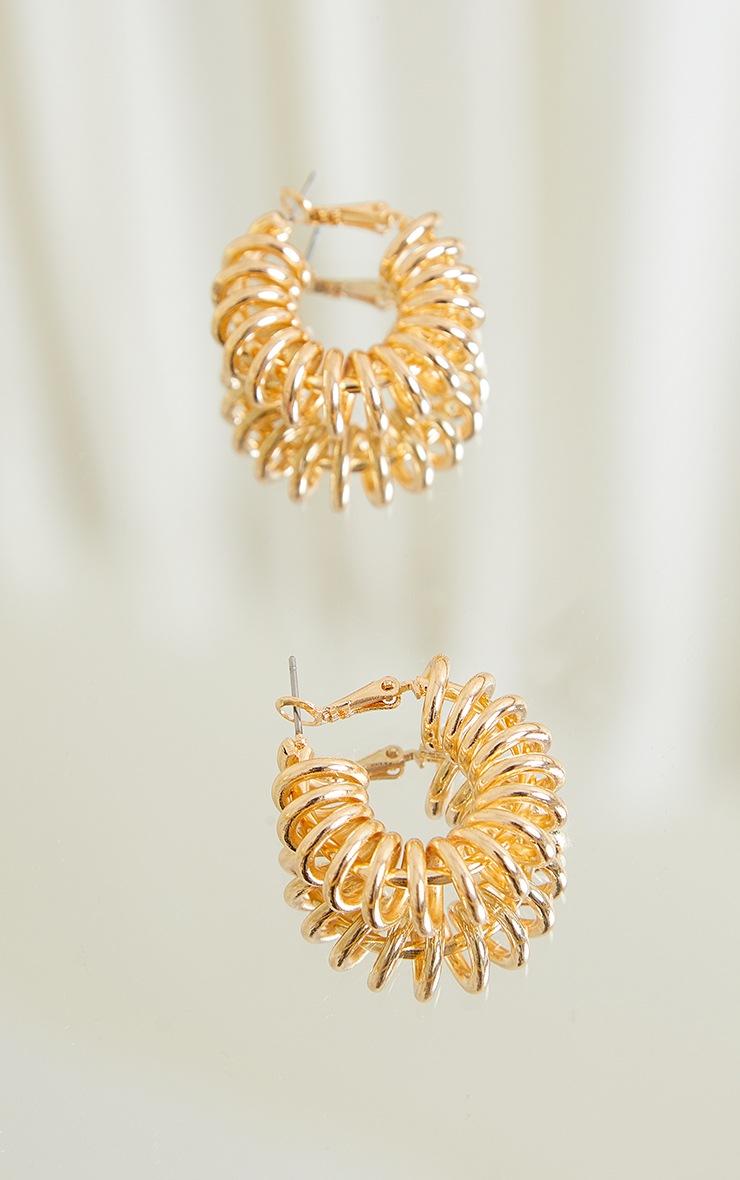 Gold Ribbed Coil Hoop Earrings 3