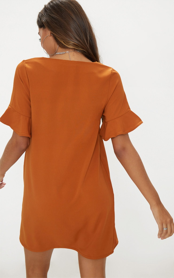 Rust Button Through Frill Sleeve Dress  2