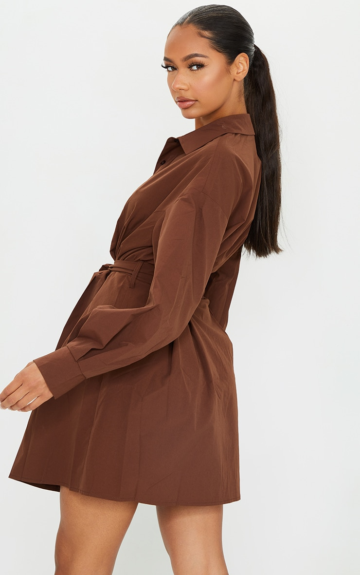 Chocolate Pleated Detail Button Down Shirt Dress 2