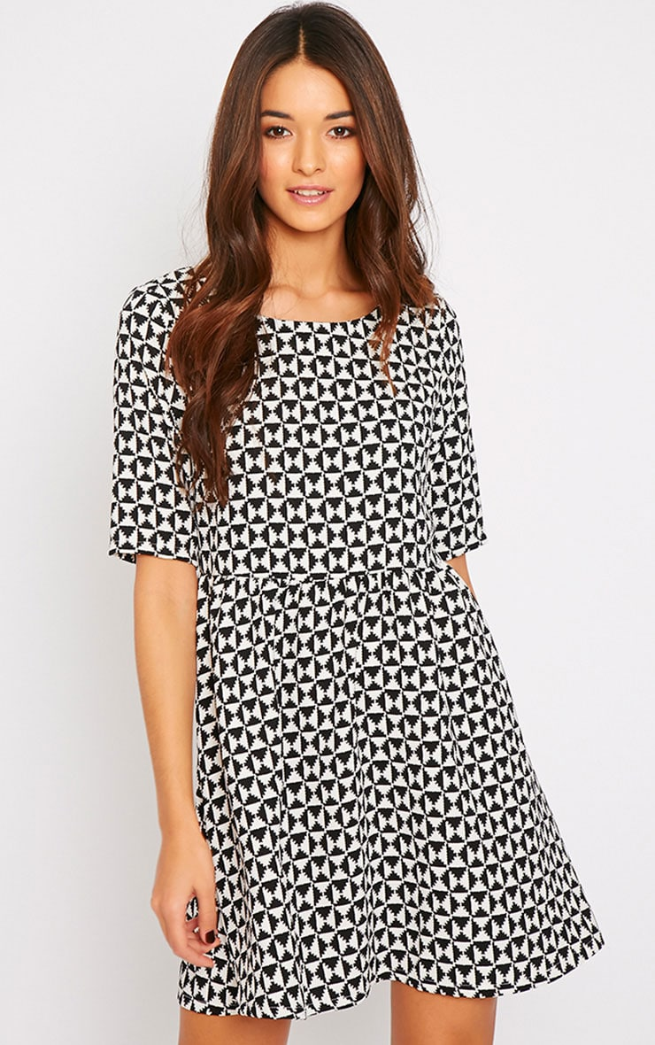 Kelly Monochrome Print Skater Dress 1