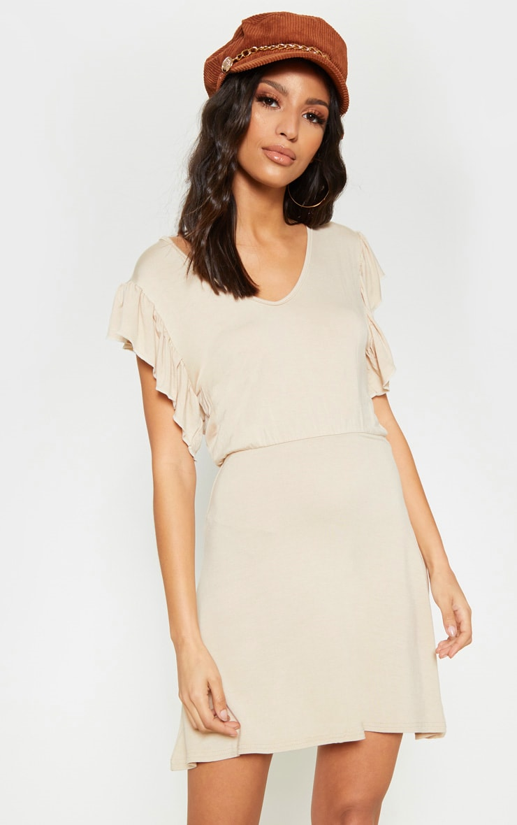 Stone Frill Sleeve Shift Dress 1