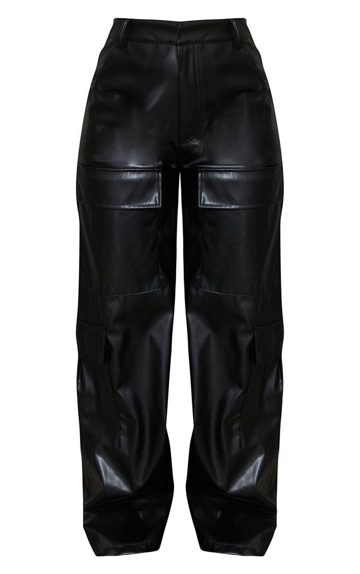 Black PU Pocket Detail Wide Leg Pants 6