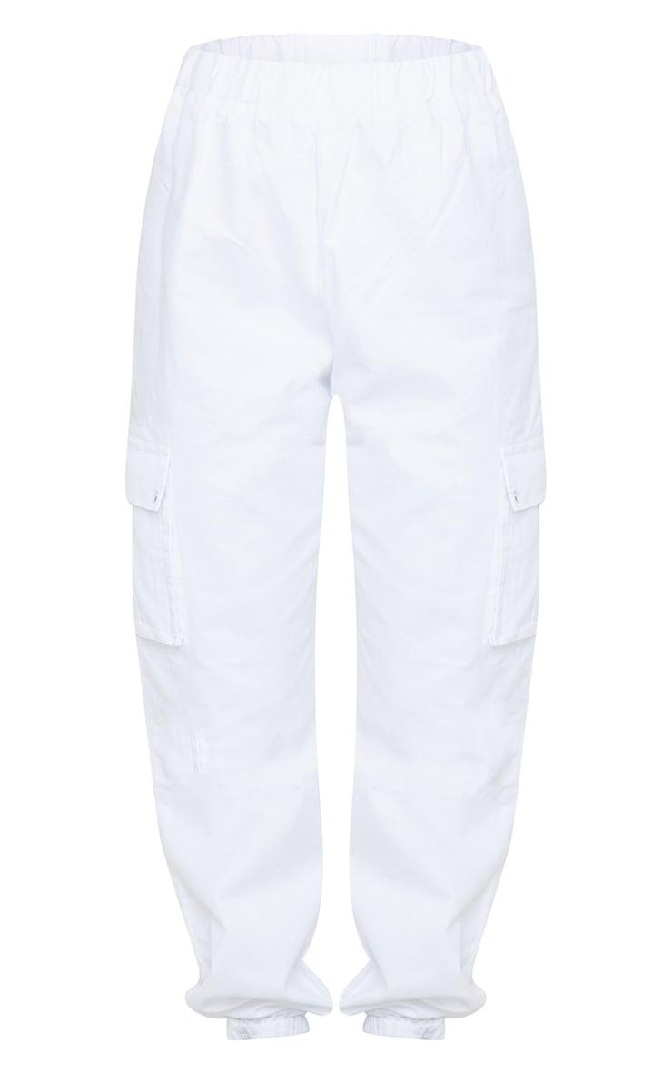 White Pocket Detail Cargo Trousers 5