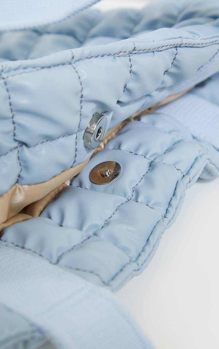 Baby Blue Square Quilted Tote Bag 4