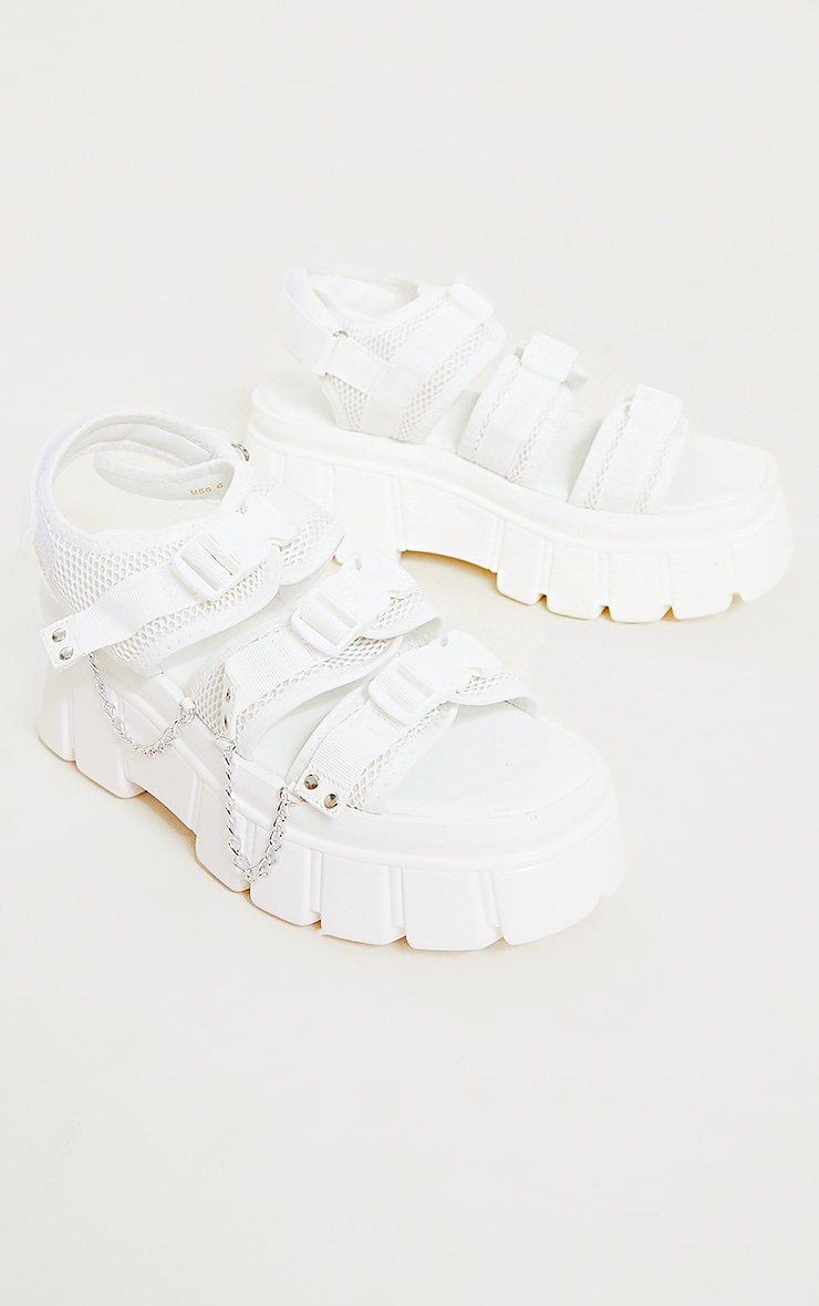 White Extreme Chunky Sole Clasp Chain Trim Sandals 3