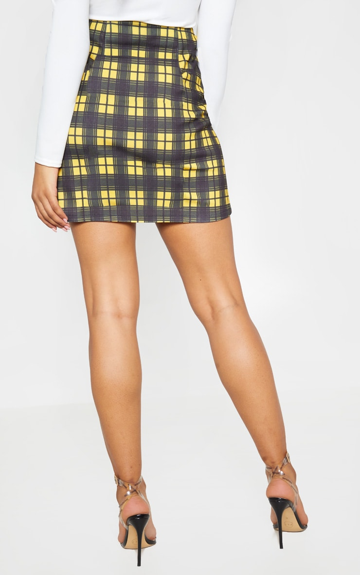 Tall Mustard A Line Checked Zip Front Skirt 4