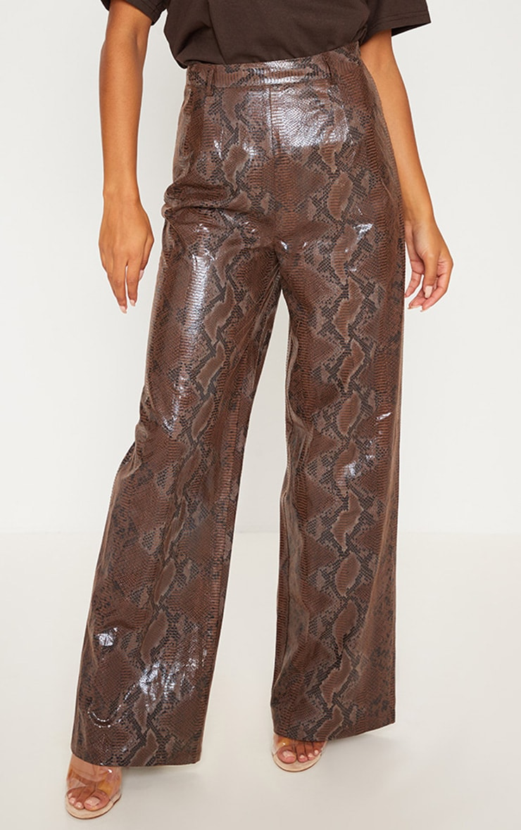 Dark Brown Faux Leather Snakeskin Wide Leg Pants 2