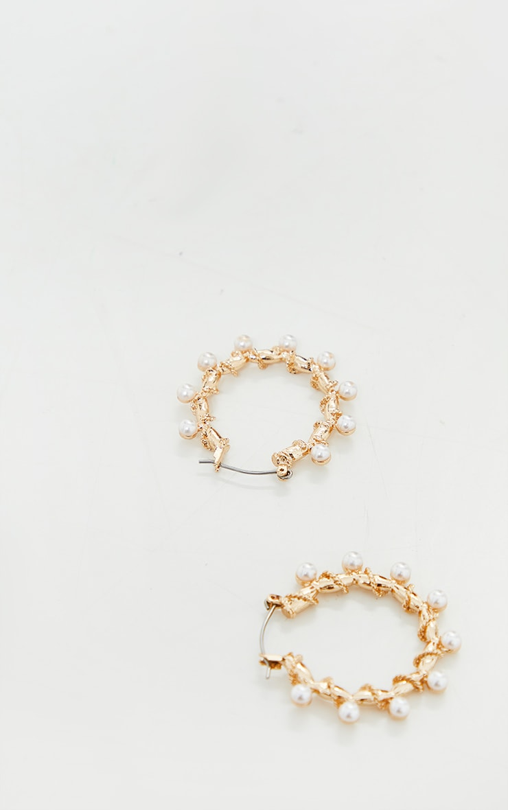 Gold Mini Pearl Small Hoop Earrings 2