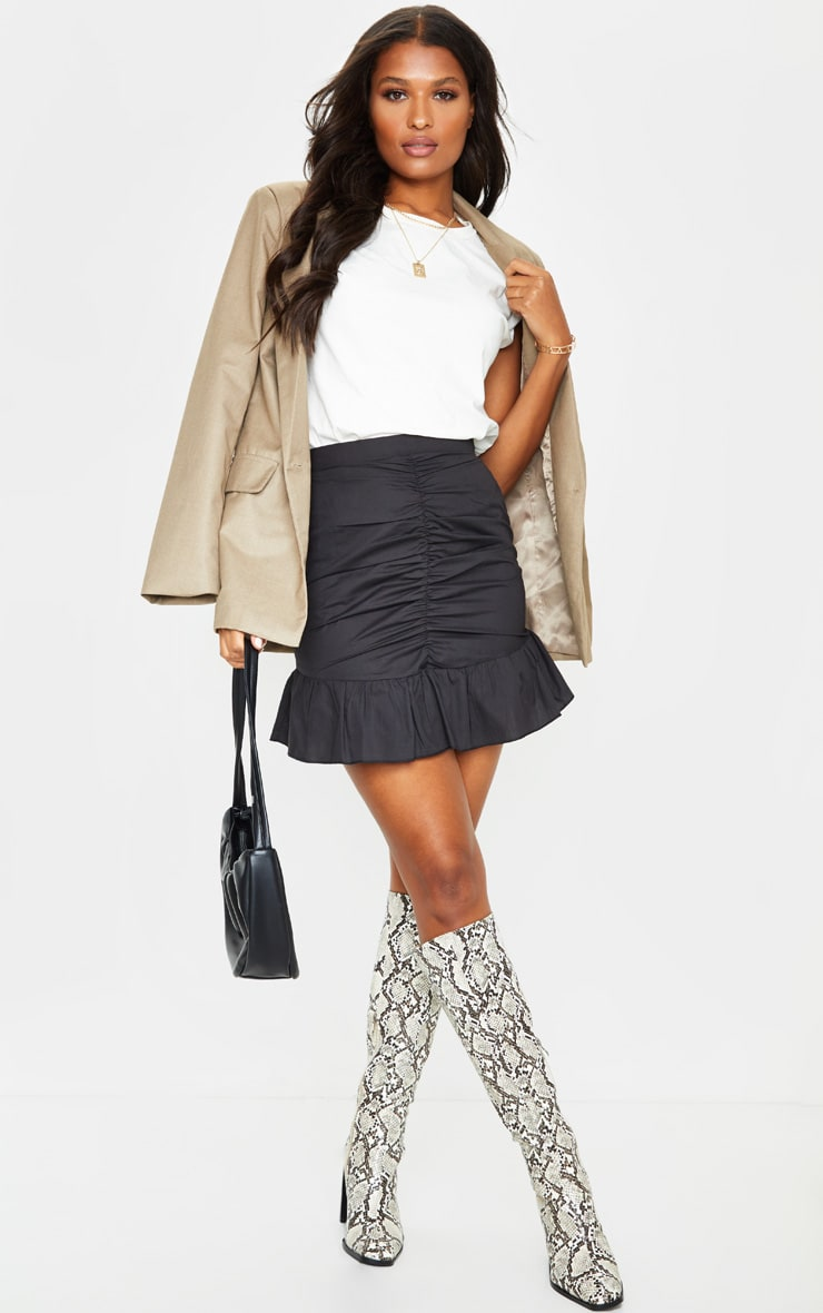 Black Woven Frill Hem Ruched Mini Skirt 4