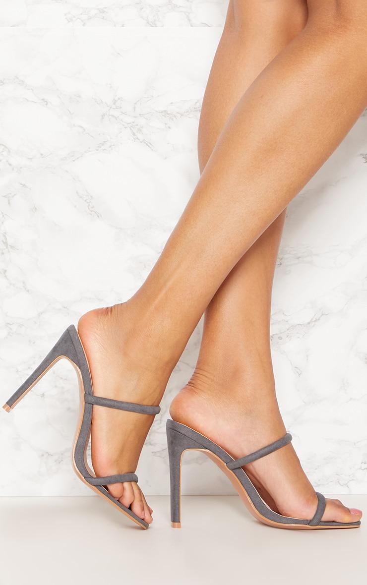 Charcoal Blue Twin Strap Flat Heel Mule