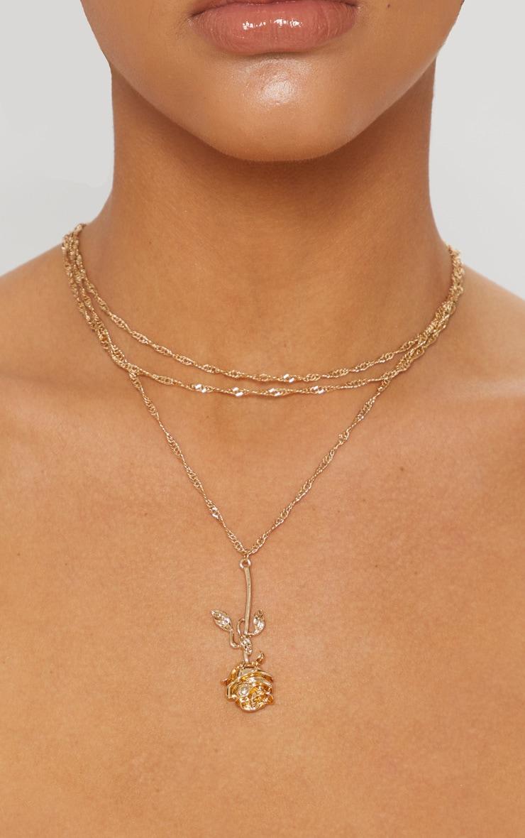 Gold Rose Drop Necklace 2