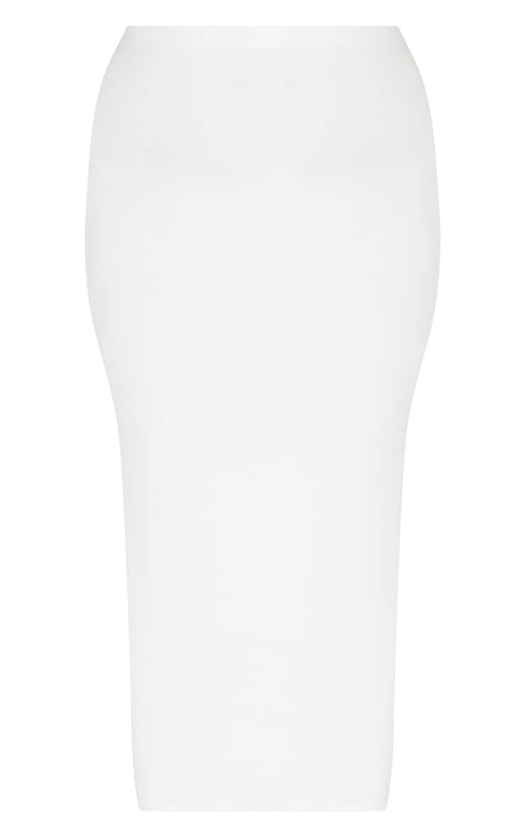 Plus jupe mi-longue près du corps seconde peau blanche 4