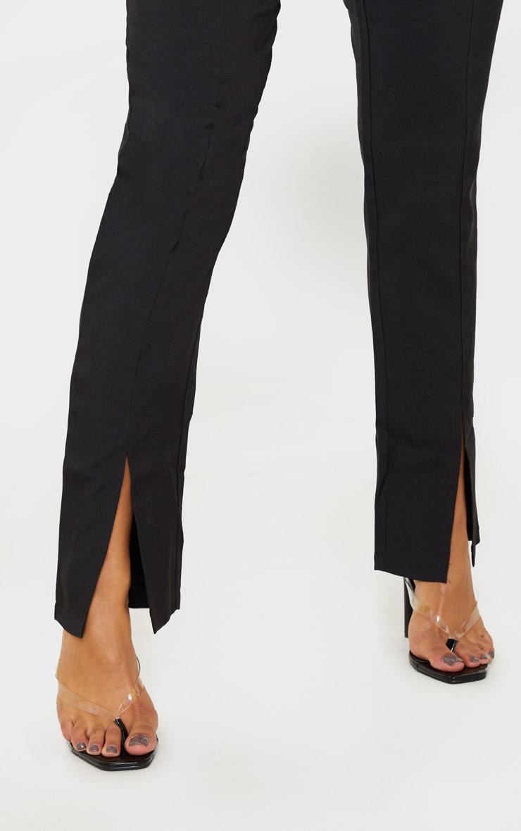 Black High Waisted Straight Leg Split Hem Pants 5