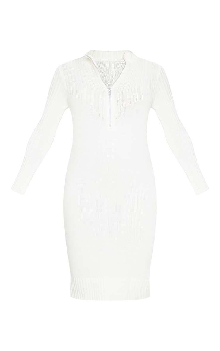 Cream Zip Front Knitted Sweater Dress 5