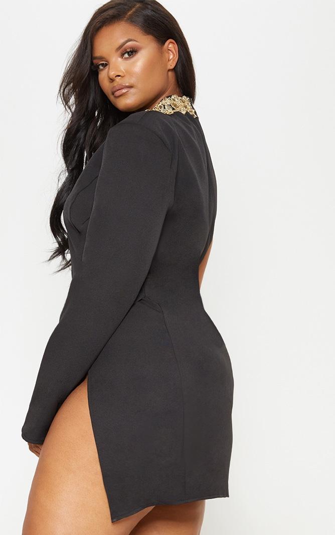 Black Asymmetric Sleeve Embroidered Bodycon Dress 3
