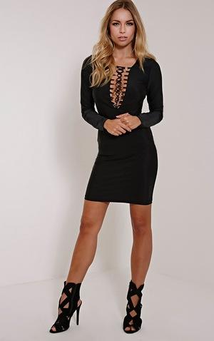 Eden Black Lace Up Front Mini Dress