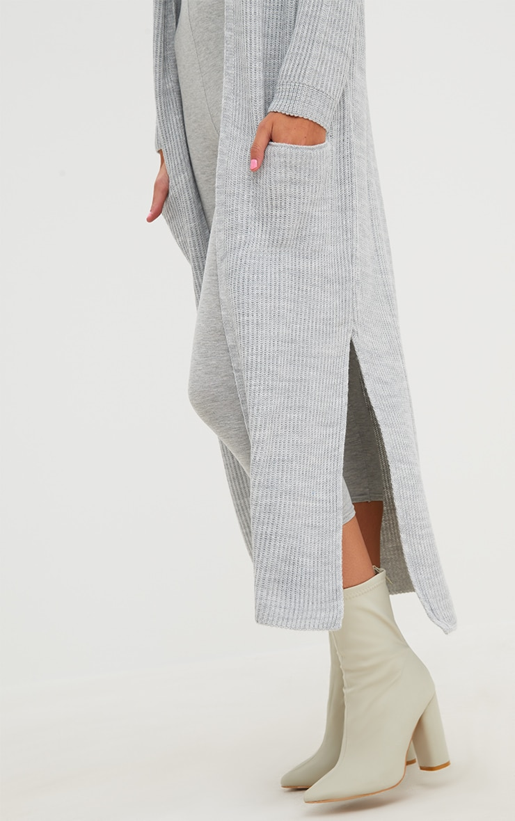 Grey Pocket Front Maxi Cardigan 5