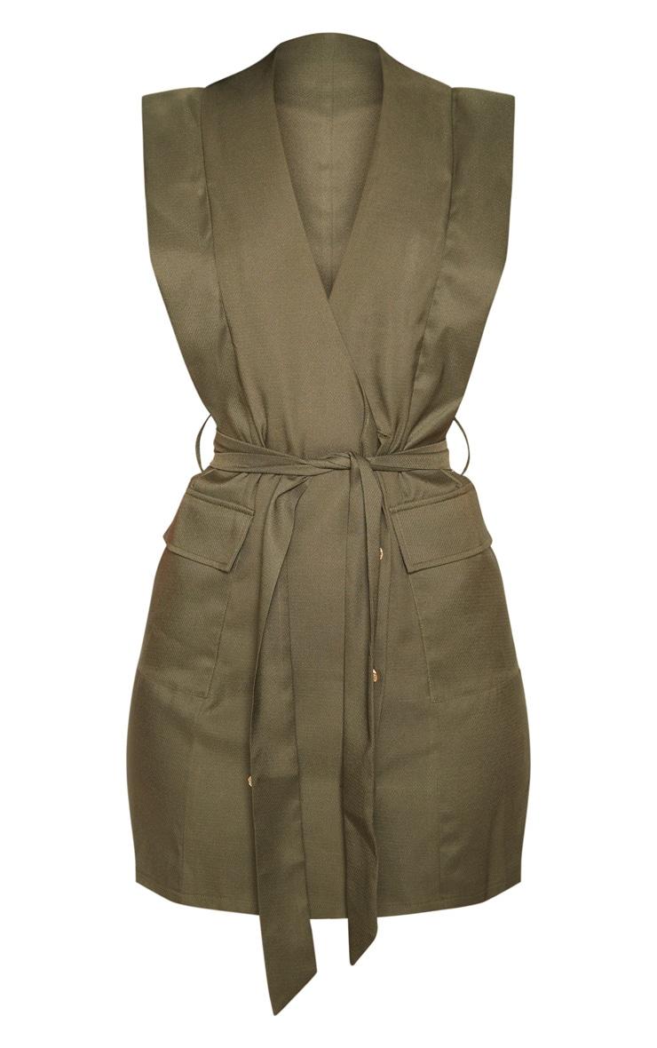 Khaki Sleeveless Gold Button Detail Blazer Dress 3