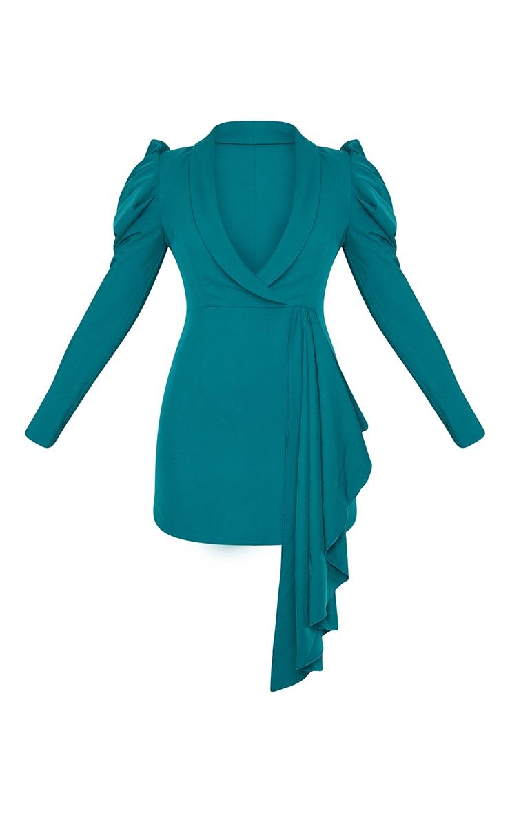 Emerald Green Puff Sleeve Drape Detail Blazer Dress 5