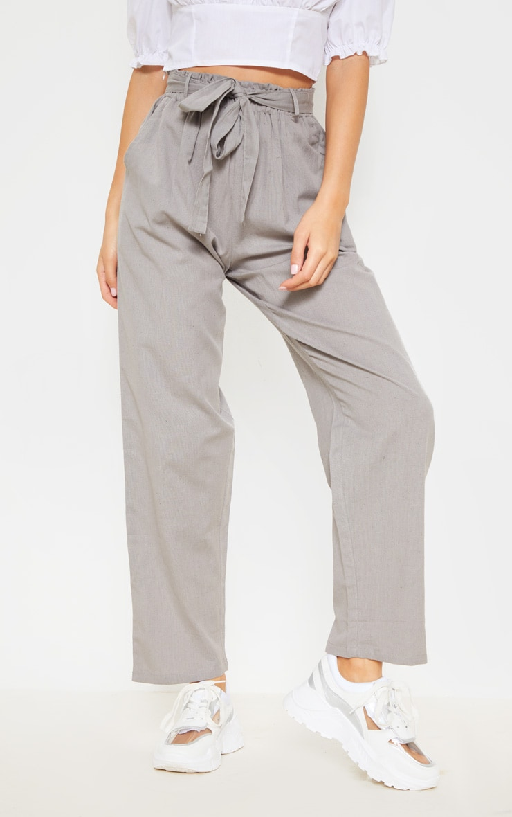 Pale Grey Paperbag Linen Feel Tie Waist Detail Pant 2