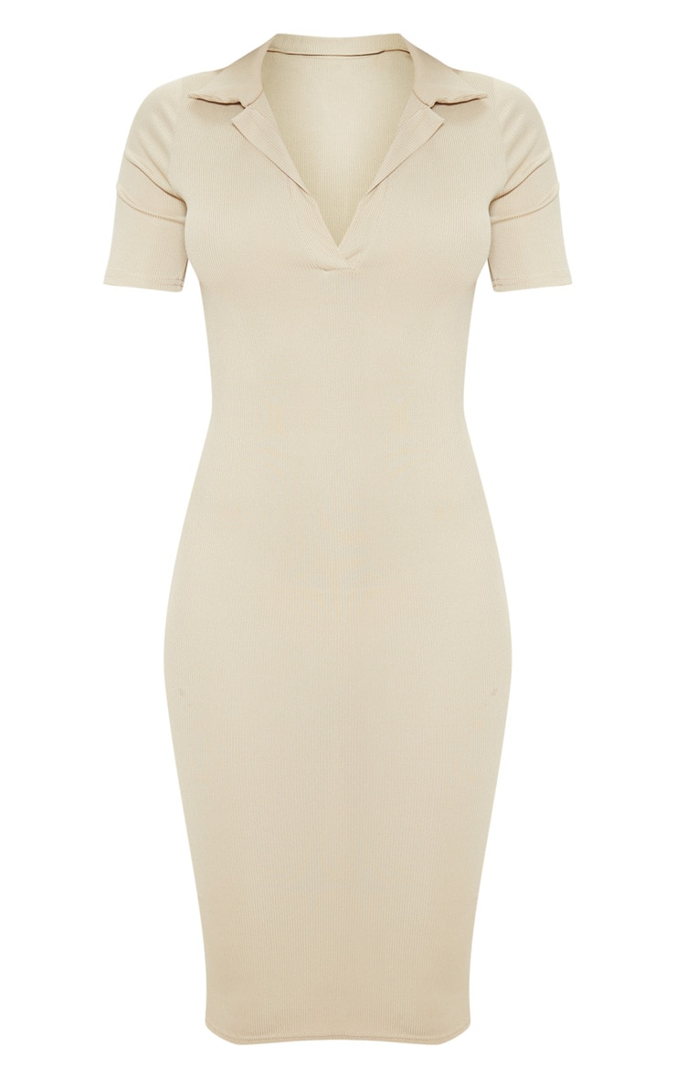Biscuit Ribbed Midi Polo Dress 3