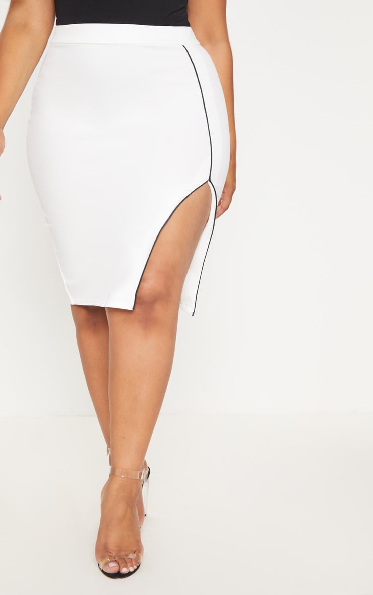 Plus White Contrast Detail Side Spit Midi Skirt 2