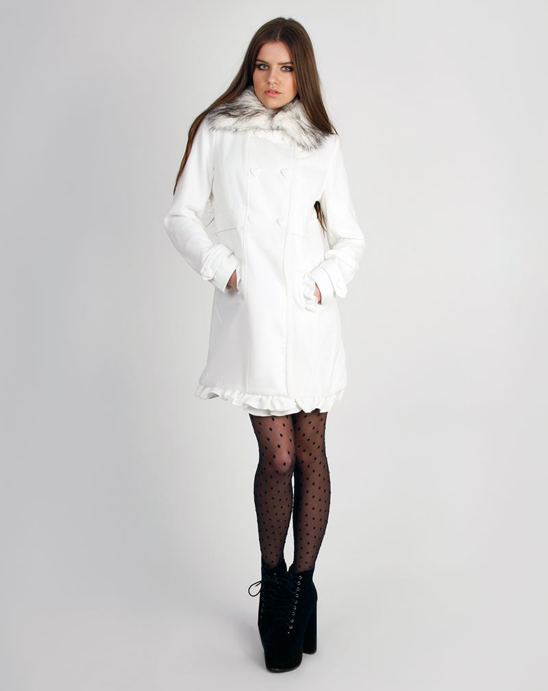 Georgie White Heart Buttoned Fur Collar Duffle Coat 3