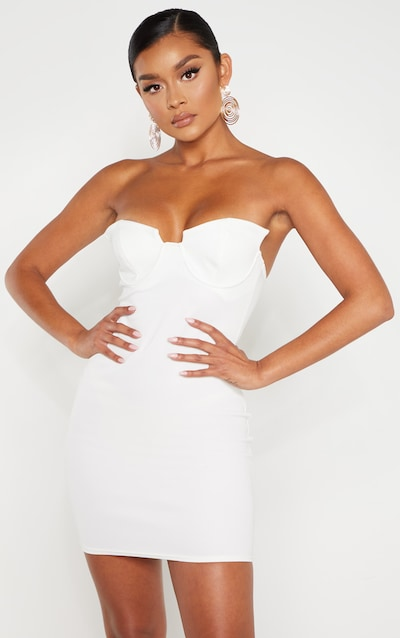 a4d11a66cd8 White Winged Bandeau Bodycon Dress